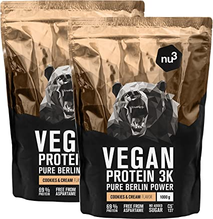 nu3 - Proteína vegana 3K - 2kg de fórmula - 69% de proteína a base