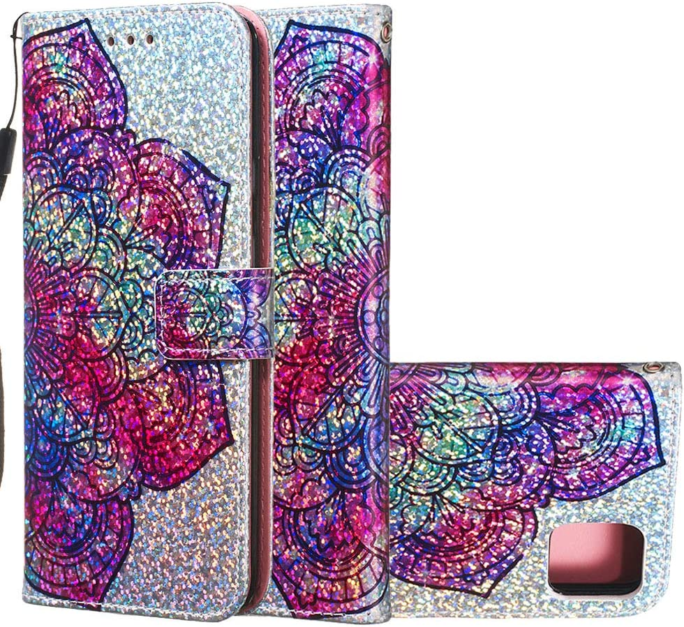 Cfrau Sequins Wallet Case for Google Pixel 4 XL,Fashion 3D Bling Glitters Lovely Panda Print Magnetic PU Leather Flip Folio Stand Soft TPU Strap Case with Black Stylus