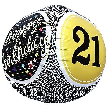 17 Inch Yellow Black Happy 21st Birthday Sphere Party Globe Ball Shape Foil Balloon