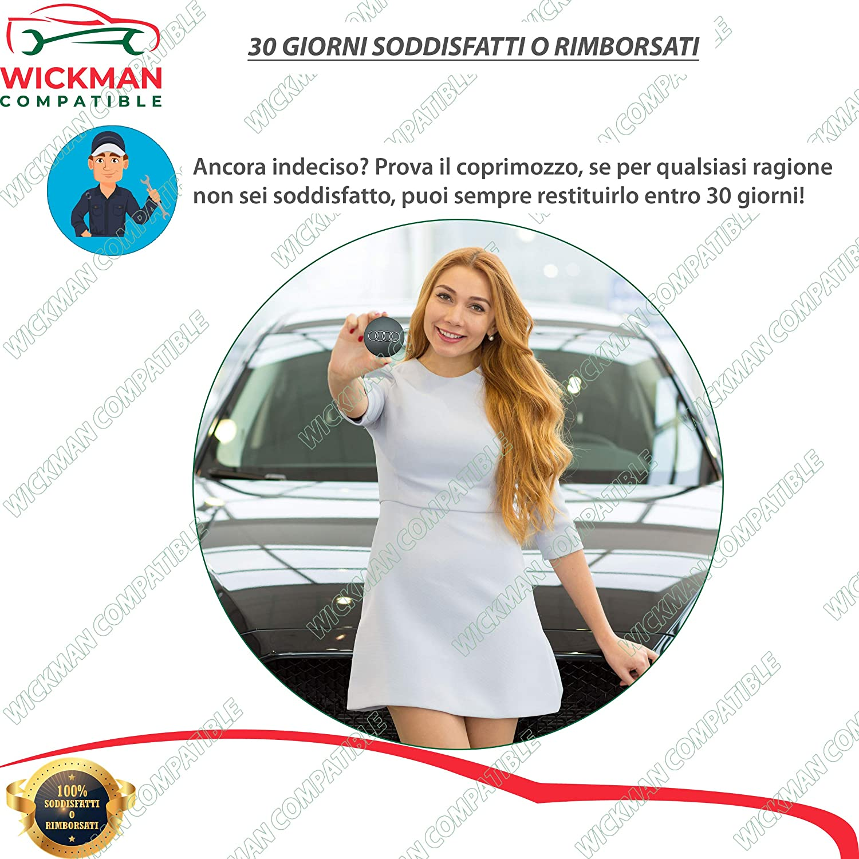 Set di 4 Tappi Coprimozzo compatibili per Audi 60 mm Diametro Nero Lucido Gestito e Spedito dallItalia da Wickman Compatible