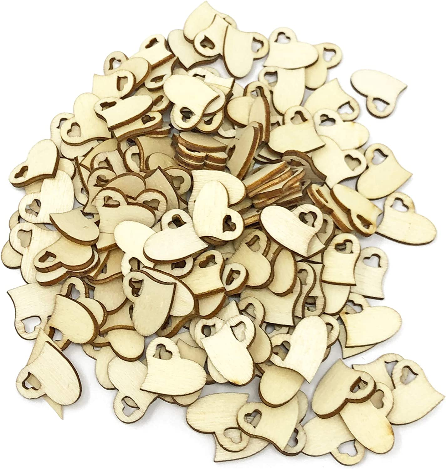 100 15mm Double Love Hearts Wooden Shabby Chic Craft Scrapbook Vintage Confetti Hearts