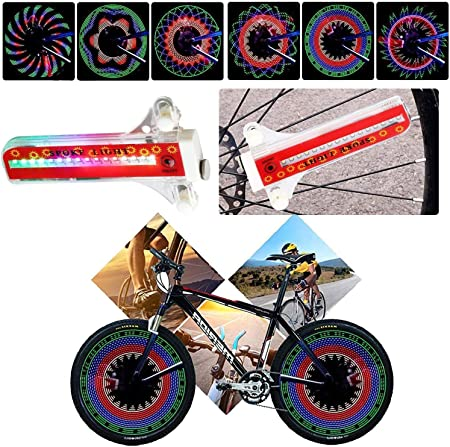 1//2 Pcs Rim Wheel 32 LED Flash Warning Light Bike Bicycle Mountain Bike Rianbow