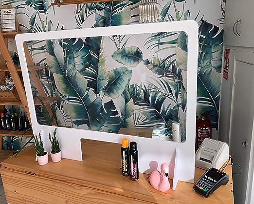 Mampara protectora de metacrilato y PVC. Con ventanilla. Dim: 100 ...