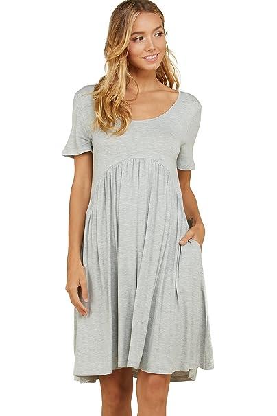 d4c88020aa2b19 Annabelle Women's Solid Print Scoop Neck Pleated Waist Short Sleeve Scoop  Neck Short Length Plus Size