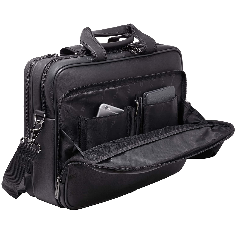 "Alpine Swiss Messenger Bag Colombian Leather 15.6/"" Laptop Briefcase Portfolio"