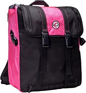 Case-It BKP-102 Laptop Backpack with Hide-Away Binder Holder, Fits 13-Inch Laptops, Black/Pink (BKP-102 BLKP)