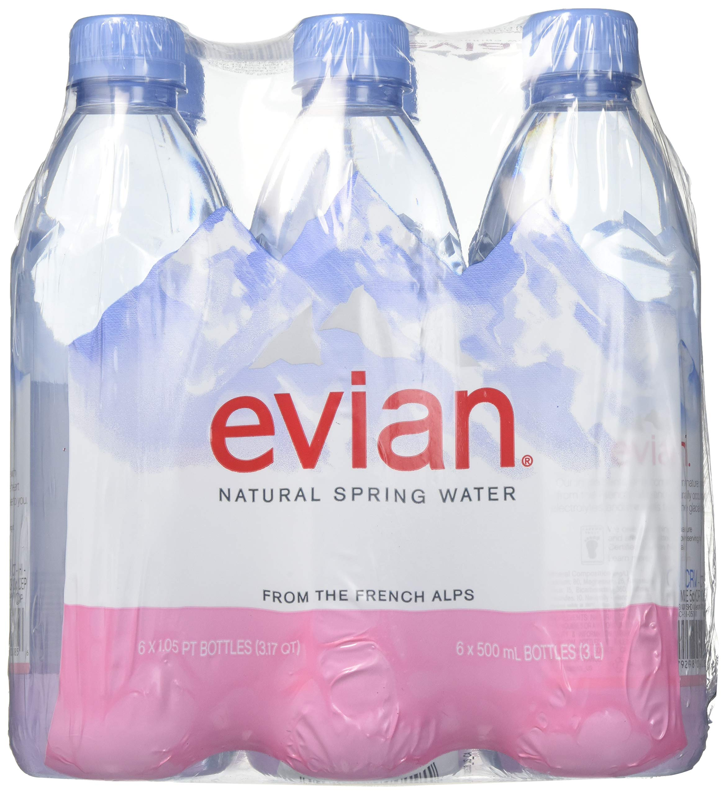evian Natural Spring Water 500 ml, 16.9 Ounce, 6 Count, Bottled Naturally Filtered Spring Water in Individual-Sized Bottles
