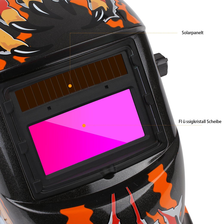 Fixkit - Casco de soldadura solar automático, con gran campo visual para la aplicación en MIG / MAG / TIG / esmerilado / soldadura por arco / corte por ...