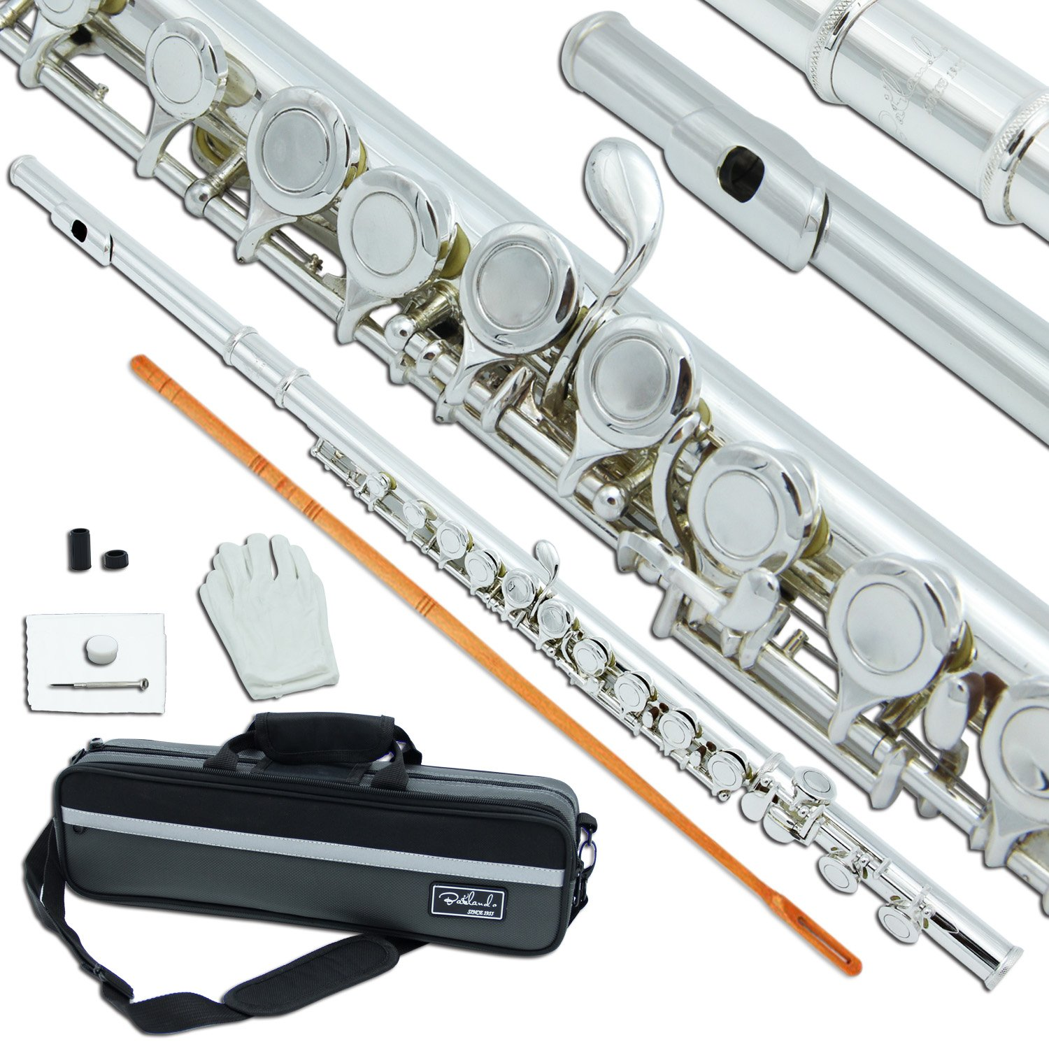 Bailando High Grade Silver Plated Flute, Offset G, C-Foot, Split E Mechanism, Closed Hole and Excellent Tremolo