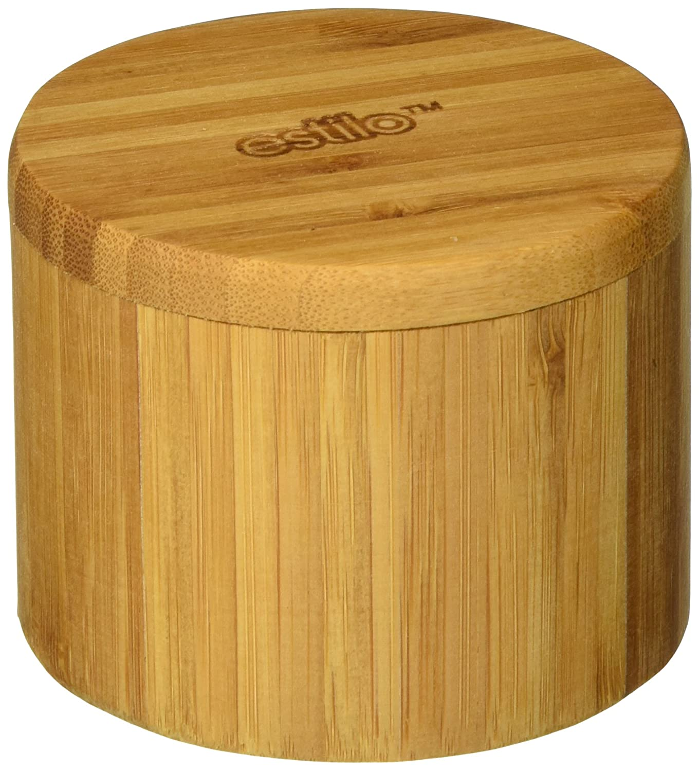 Estilo 100% Natural Bamboo Single Round Salt Or Spice Box With Lid