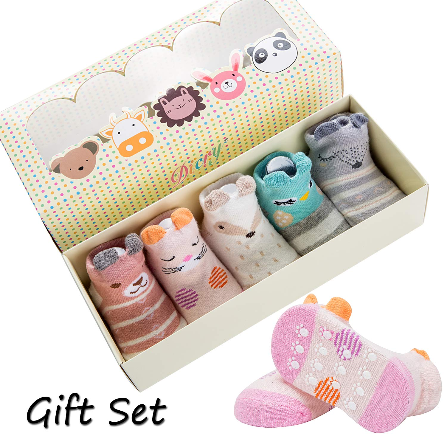 Dicry 5 Pairs Infant Baby Girls Walking Socks Set Grip Non Slip 6-18 Months
