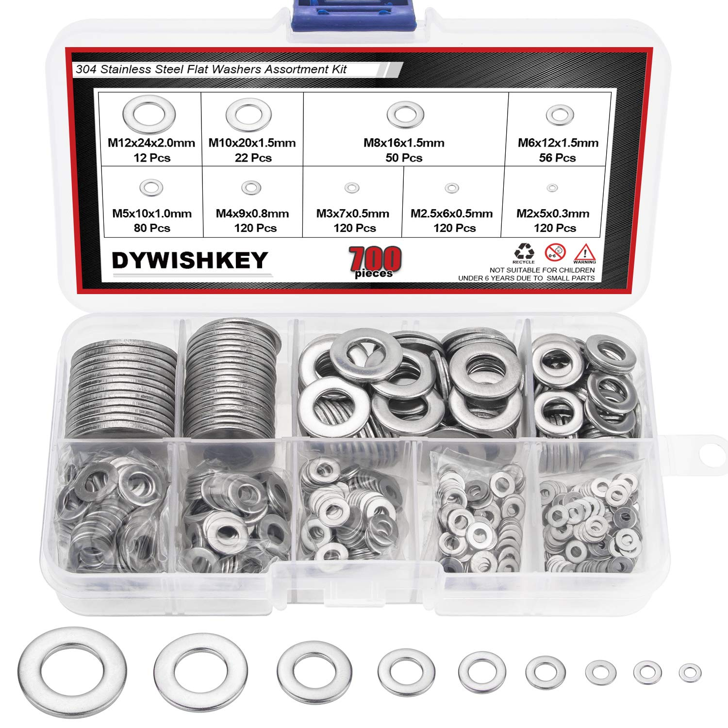 DYWISHKEY 700Pcs 9 Sizes Stainless Steel Flat Washers Assortment Kit (M2 M2.5 M3 M4 M5 M6 M8 M10 M12)