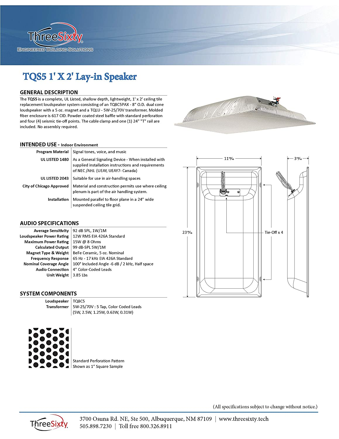Amazon.com: ThreeSixty TQS5 1 X 2 Lay-in Ceiling Speaker 25/70 Volt on ceiling speaker dimensions, ceiling speaker hook up, surround sound installation diagram, ceiling speakers baffle, ceiling speaker accessories, ceiling antenna, onq diagram, ceiling speaker installation, ceiling speaker connector, ceiling tile speakers, 70v speaker distribution diagram, multi room speaker diagram, outdoor speaker diagram, ceiling speaker parts, ceiling sensor diagram, ceiling speaker cable, speakers in parallel diagram, 70v system diagram, mission control wire diagram, ceiling speaker setup,