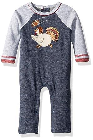 9bb53bf046 Amazon.com  Mud Pie Baby Boys Thanksgiving Turkey Football One Piece Long  Sleeve Playwear  Clothing