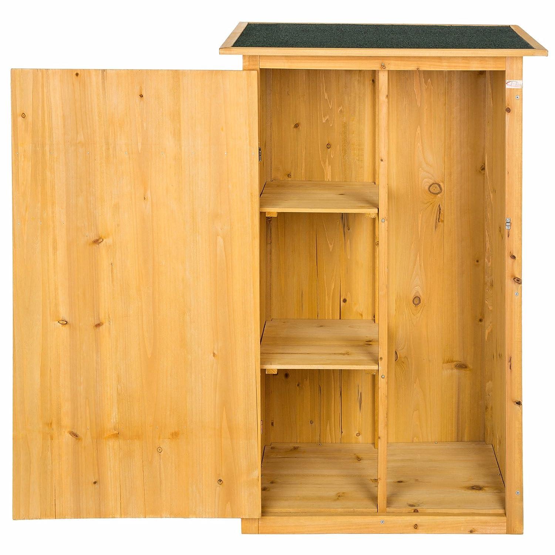 TecTake 402200 - Caseta de Exterior Armario de Madera de jardín para Herramientas cobertizo con tejado Plano, 75 x 56 x 118 cm: Amazon.es: Jardín