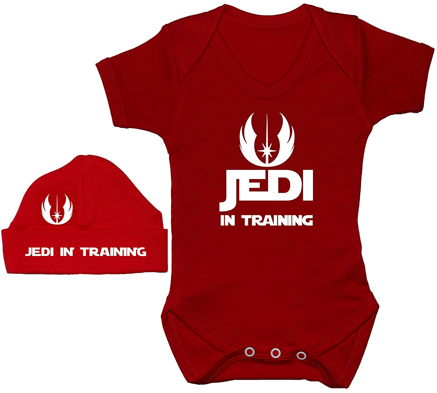 Acce Products Jedi in Training Baby Grow/Bodysuit/Romper/T-Shirt & Beanie Hat/Cap 0 to 12 Months