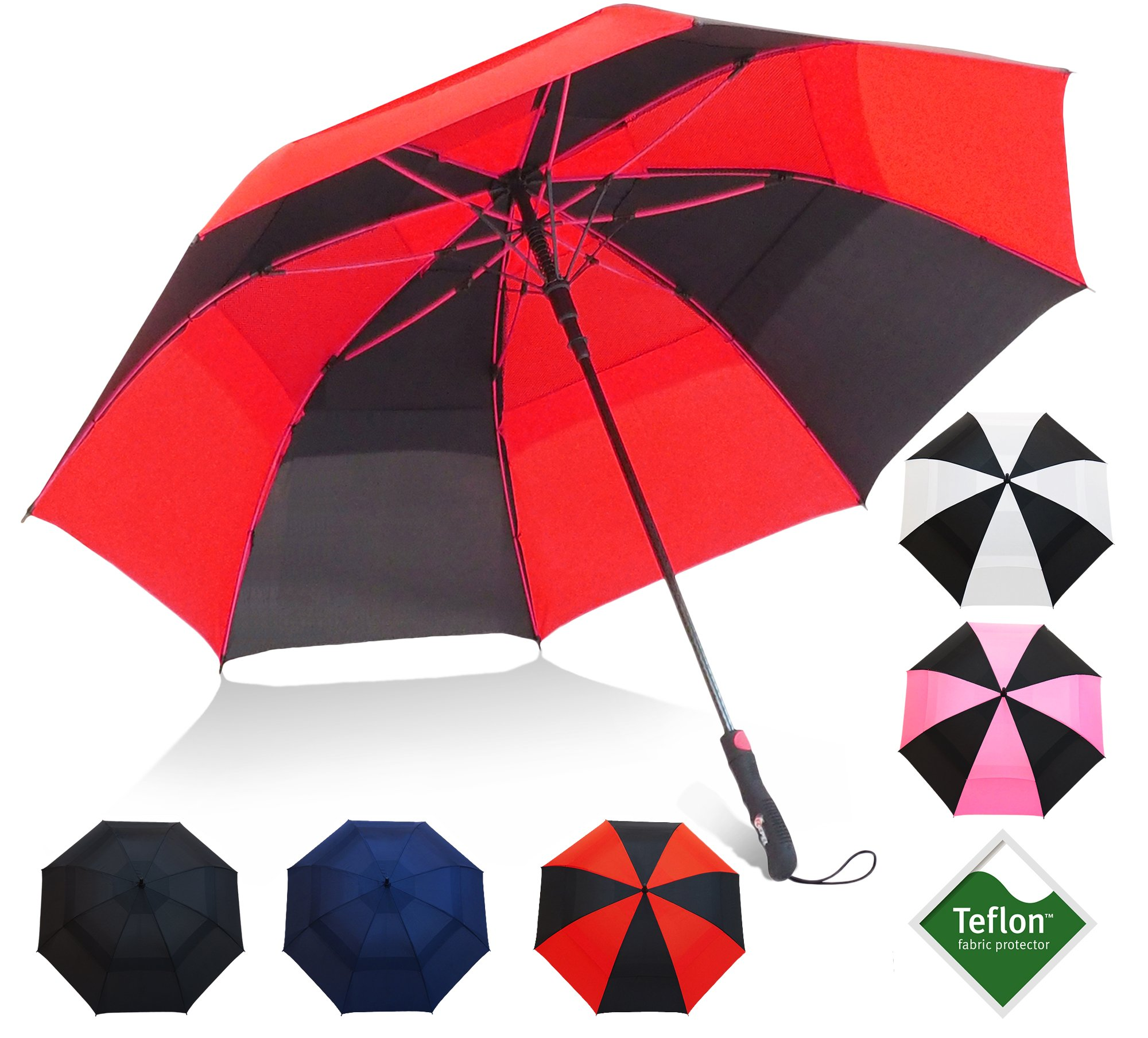 Golf Umbrella by Repel with Triple Layered Reinforced Fiberglass Ribs Adorned in Red Paint, 60'' Vented Double Canopy with Teflon Coating, Auto Open (Black/Sunset Red)