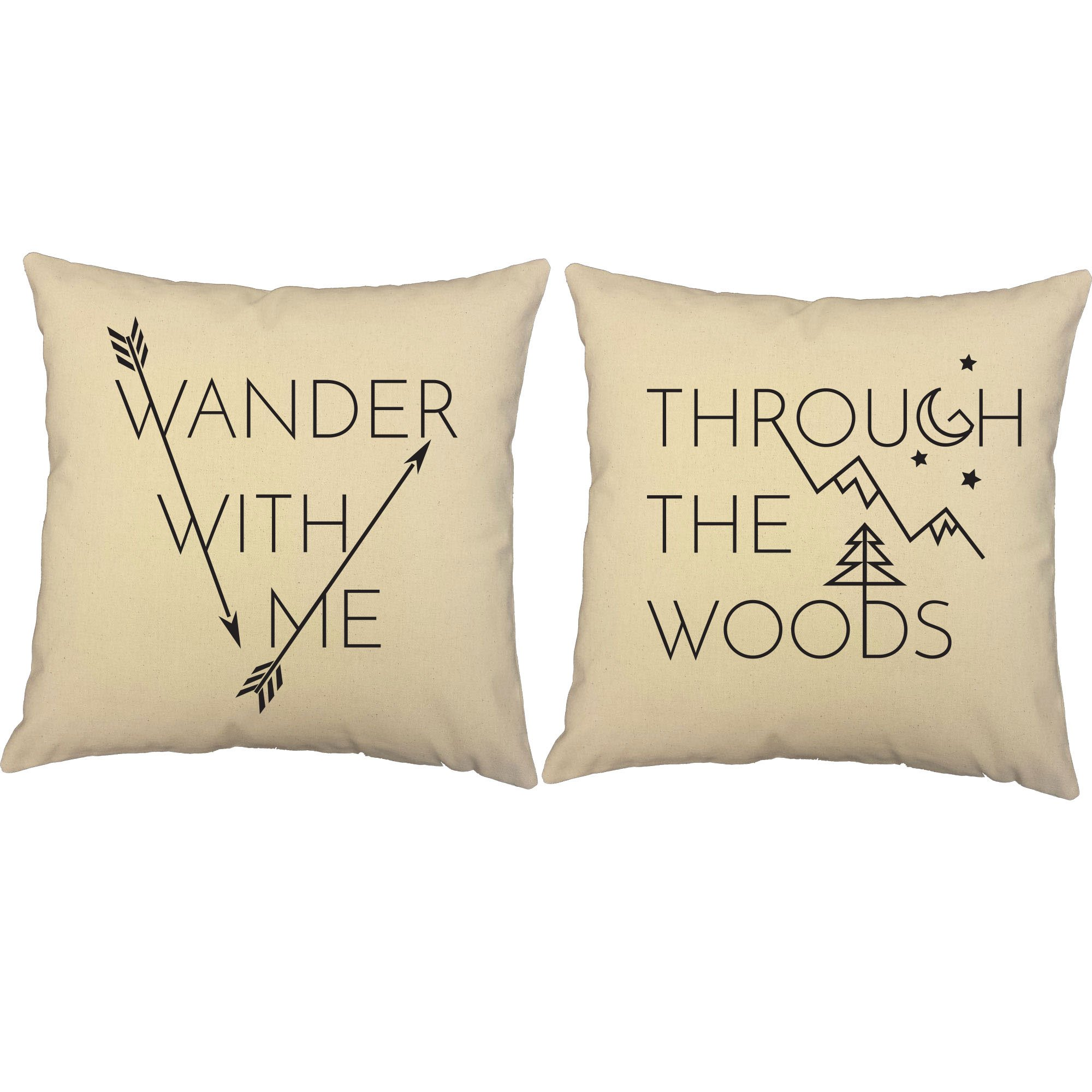 RoomCraft Set of 2 Wander with Me Through The Woods Throw Pillows 14x14 Inch Square Natural Cotton Cushions