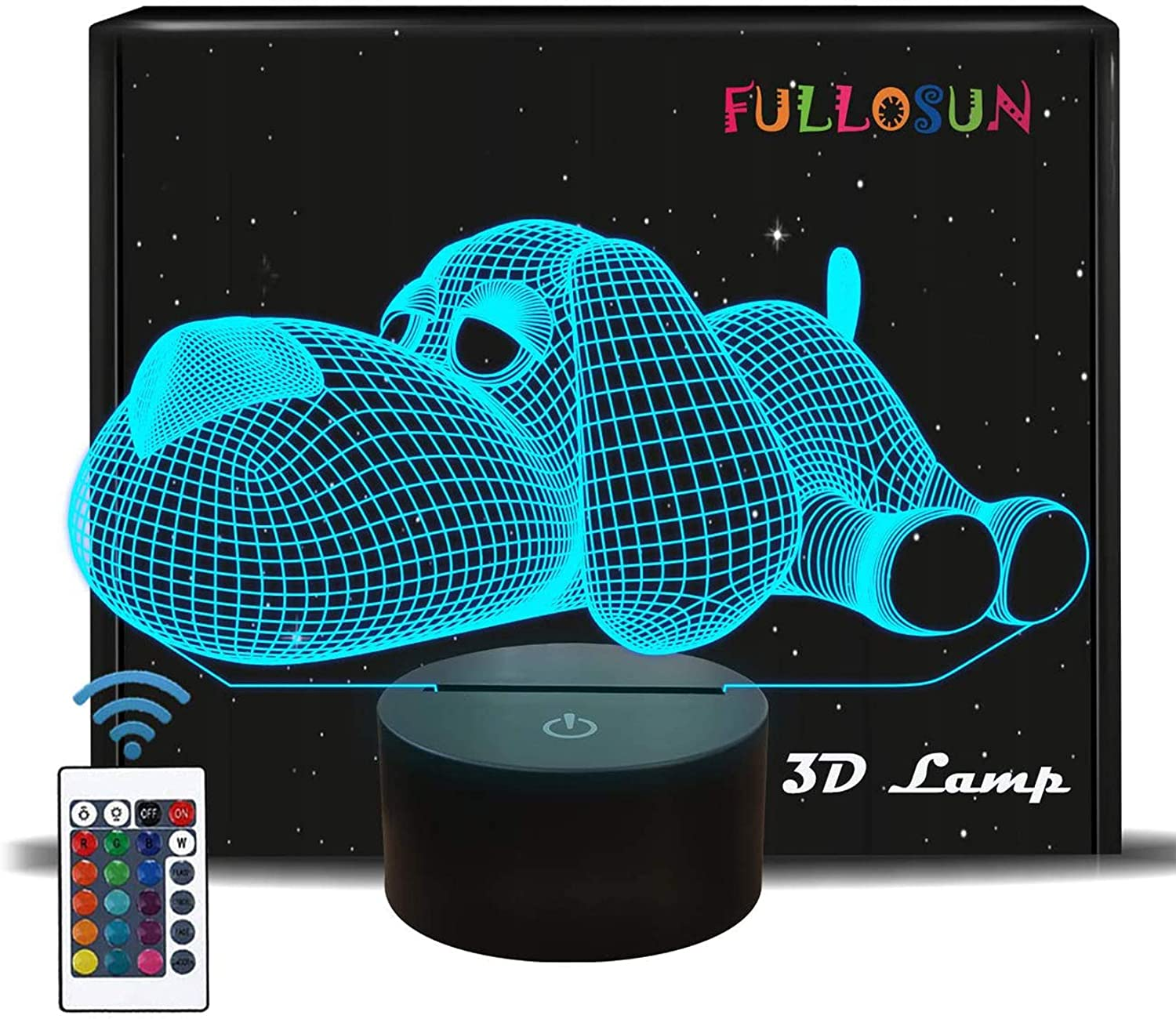 Dog Night Light Gift for Girl Boy, Lovely Puppy Doggy Illusion Lamp for Baby Kids Bedroom,Remote Control 16 Color Change Unique Gift