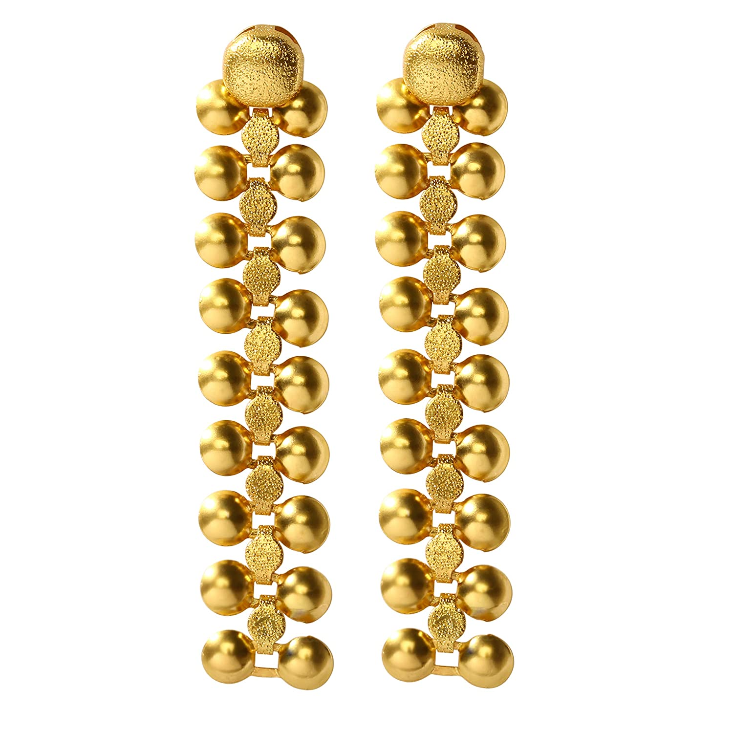 14K Gold Plated Earrings Dangling Long Drop Hypoallergenic Studs Indian Unique Vintage Jewelry for Women Girls