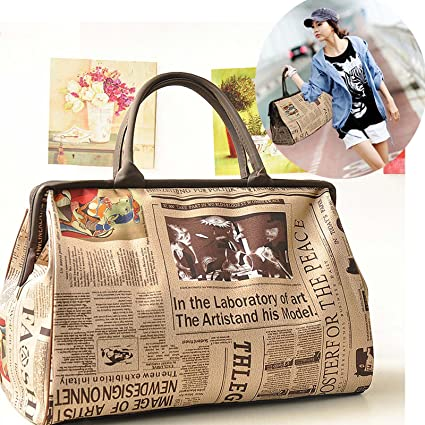 61bc1fd6c1ff Amazon.com : BININBOX Womens Retro Vintage Style Travel Bag Shoulder ...