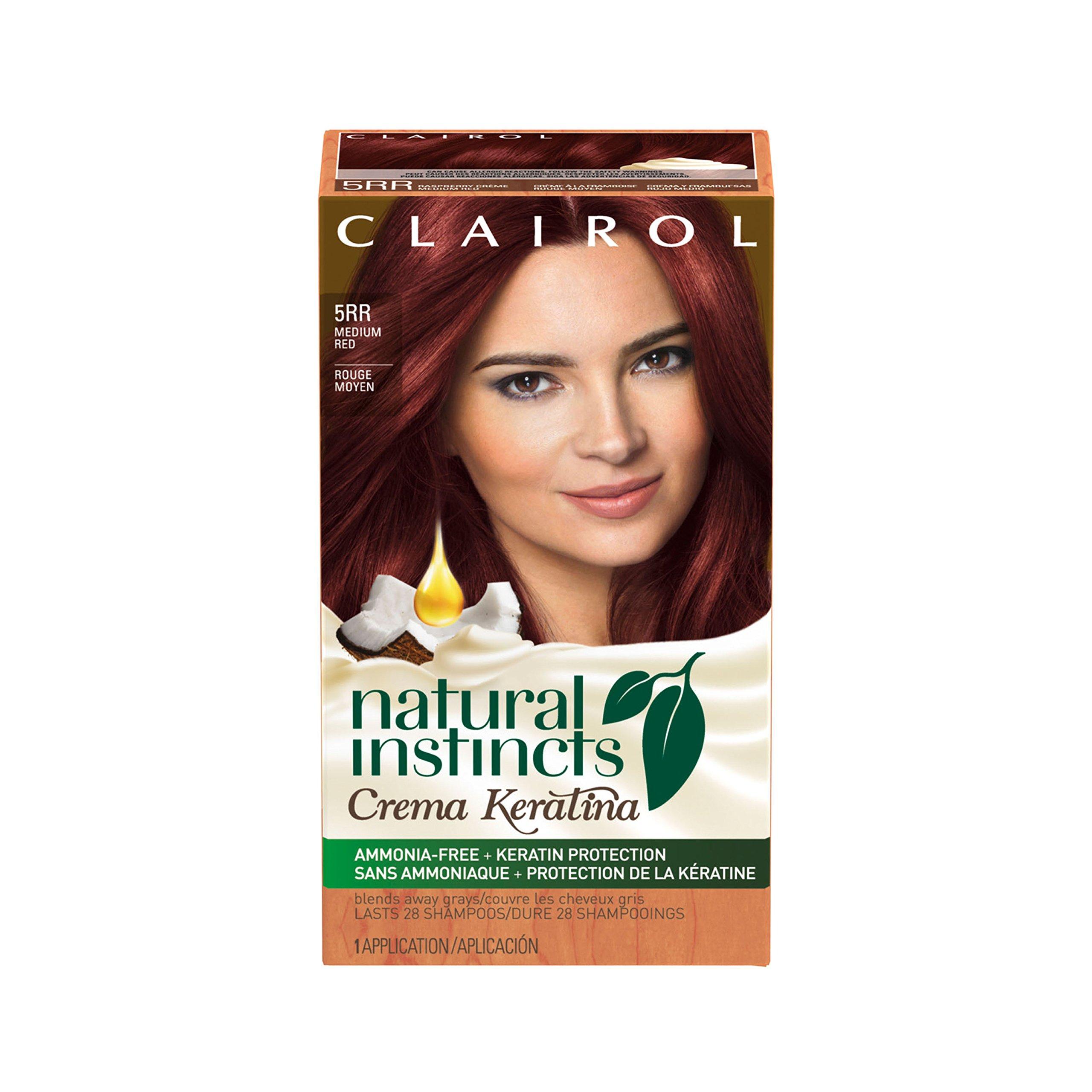 Clairol Natural Instincts Crema Keratina Hair Color Kit, Medium Red 5RR (1 Application) by Clairol