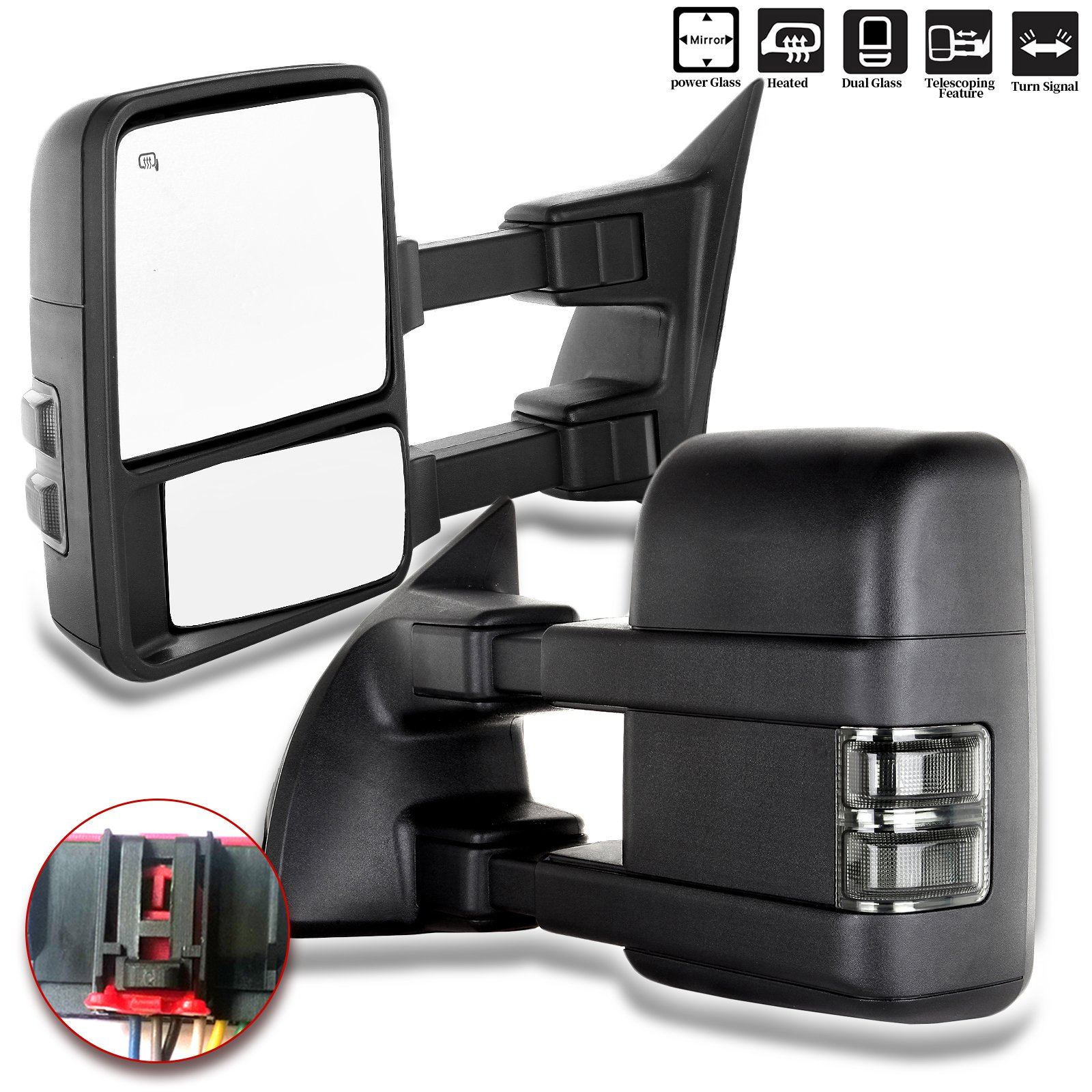 ECCPP Towing Mirrors Replacement fit for Ford F-250 F-350 F-450 F-550 Power Heated Signal Pair Mirrors 2008 2009 2010 2011 2012 2013 2014 2015 2016 by ECCPP