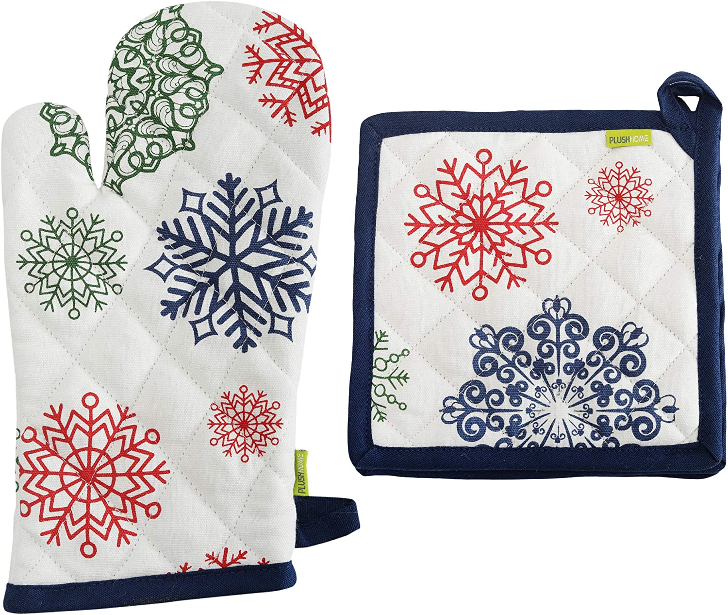 """Plush Home Pot Holder and Oven Mitt Set - Snowflakes, 100% Cotton, Set of 1 Oven Mitten of Size 7"""" X12 Inch & 1 Potholder of Size 8"""" X8 Inch with high Heat Resistant Polyester Filling"""