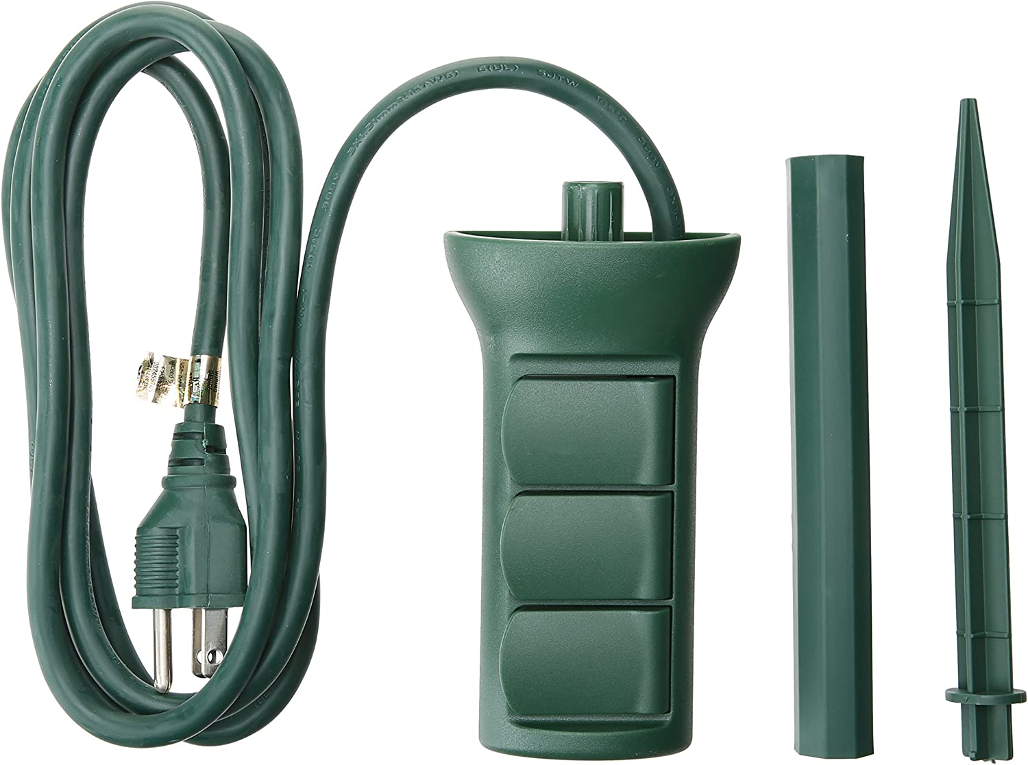 Master Electrician SP-049 3 outlet Power Stake, Green