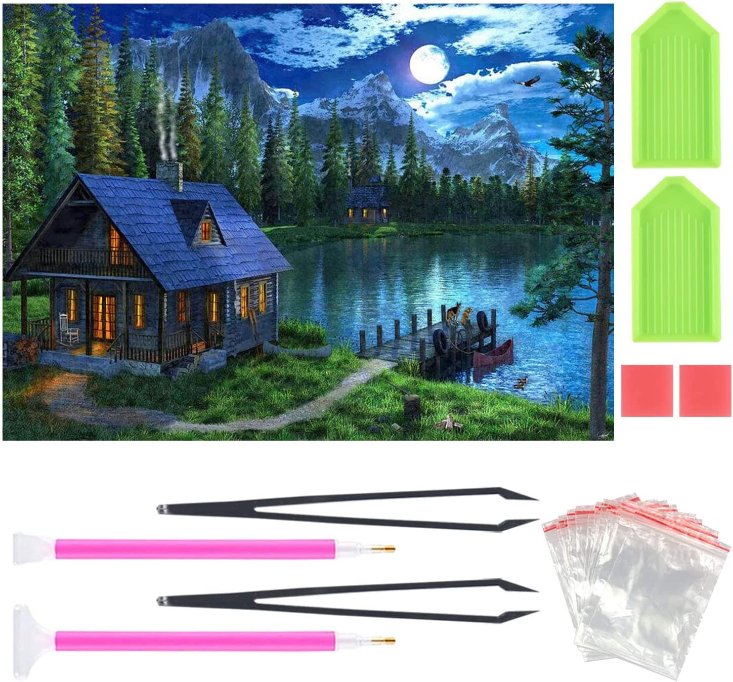 5D Diamond Painting Kits for Adults Kids, Country Life Full Drill Diamond Embroidery Art Craft for Home Wall Decor