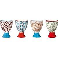 Coquetiers Emma, Bloomingville, Rouge/Orange/Vert menthe/Bleu, 4 pièces