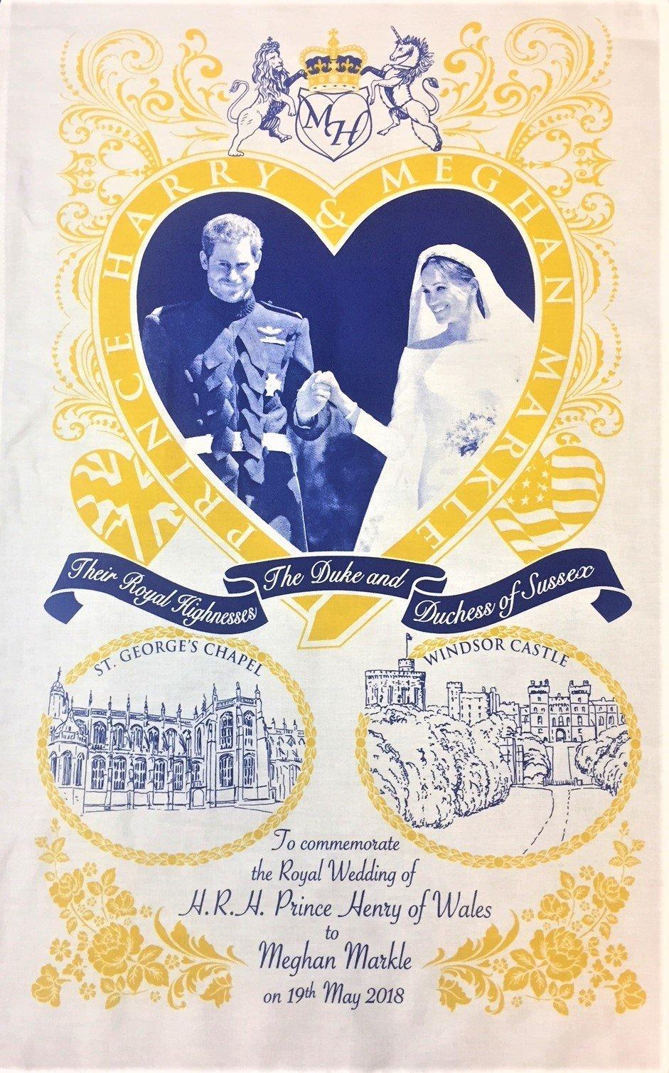 Prince Harry and Meghan Markle Wedding Day Tea Towel
