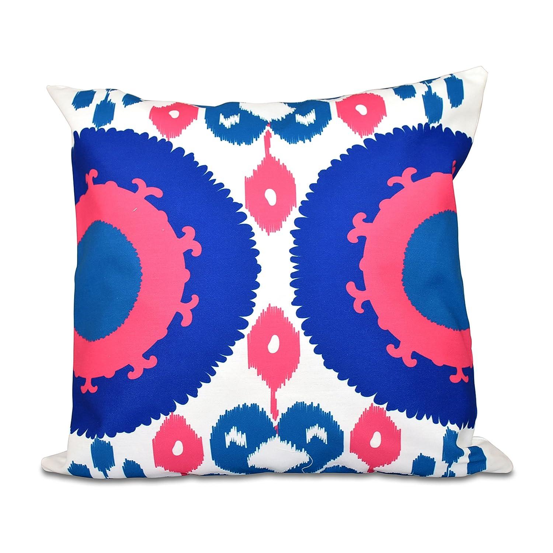 Boho Blue 18x18, E by design PGN546BL20PK8-18 18 x 18-inch Geometric Print Pillow