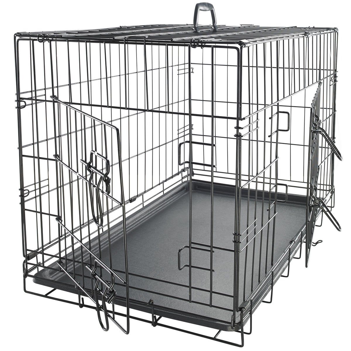 42'' Dog Crate 2 Door w/Divide w/Tray Fold Metal Pet Cage Kennel House for Animal