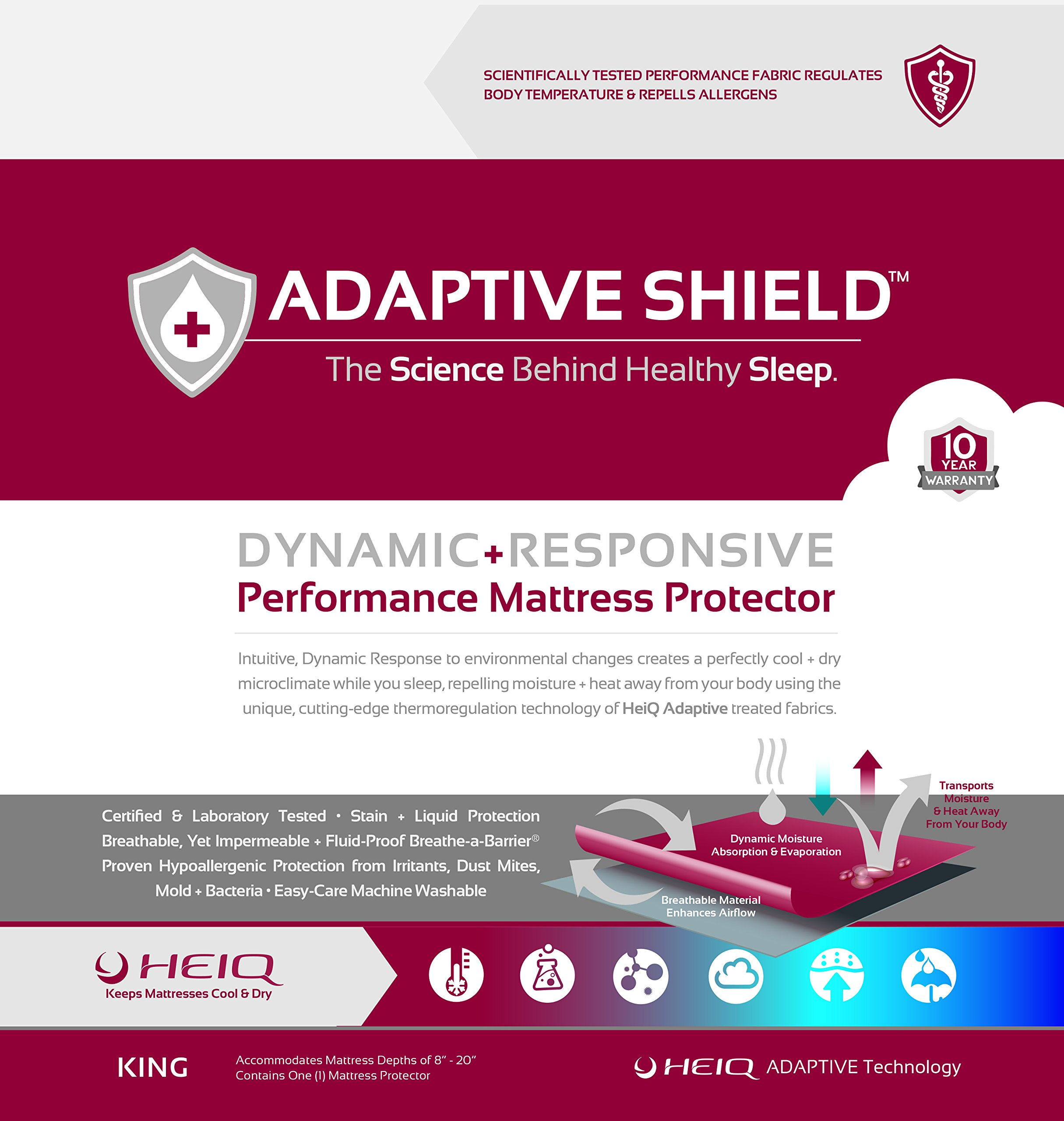 Adaptive Shield Premium Performance Mattress Protector - Lab Tested Allergy Free and Waterproof, Vinyl Free Noiseless Sleep, Crinkle Free, Machine Washable, and Compatible with All Mattresses (King)