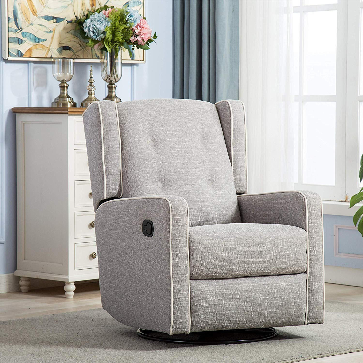 Amazon com canmov swivel rocker fabric manual recliner chair for living room soft microfiber single seat reclining sofa chair gray kitchen dining