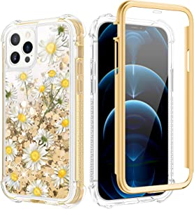 Caka Glitter Case for iPhone 12 Pro, iPhone 12 Case Glitter Full Body Flower Bling Liquid Girly Girls Women Flowing Quicksand Shockproof Floral Chamomile Case for iPhone 12 Pro 12 6.1 inch (Daisy)