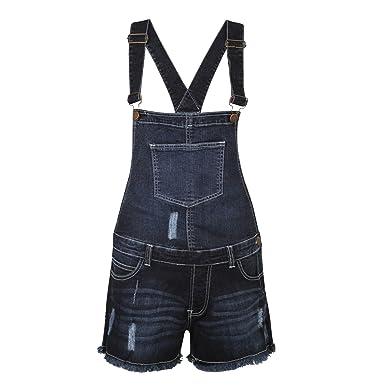 87ffef5c101b WOMENS LADIES SUMMER STRETCH DENIM DUNGAREE SHORTS JUMPSUIT  Amazon.co.uk   Clothing