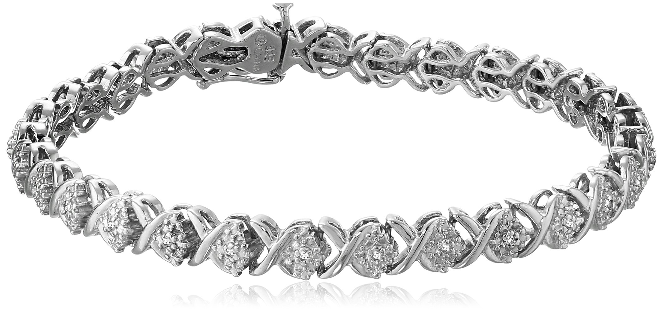 Sterling Silver Diamond X-Link Bracelet (1/10 cttw, I-J Color, I2-I3 Clarity), 7.25'' by Amazon Collection