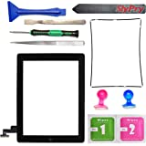 New Black iPad 2 Digitizer Touch Screen Front Glass Assembly - Includes Home Button + Camera Holder + PreInstalled Adhesive with SlyPry tools kit