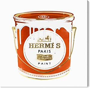 "The Oliver Gal Artist Co. Fashion and Glam Wall Art Canvas Prints 'French Luxe Paint' Home Décor, 16"" x 16"", Orange, White"