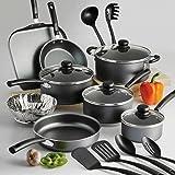 Menaje de cocina ollas y sartenes utensilios de cocina Set Nuevo de cocción antiadherente (18 piezas), Gris