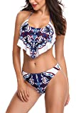 Memory baby Women's Bikini Set Vintage Printed Ruffle Bra Top with Briefs