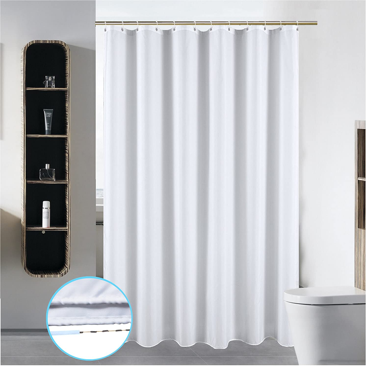 SLattye 40 X 72 Washable Fabric Shower Curtain Liner Wider Than 36 Inches Bathroom Water Repellent Mildew Resistant Polyester With Curved Plastic Hooks