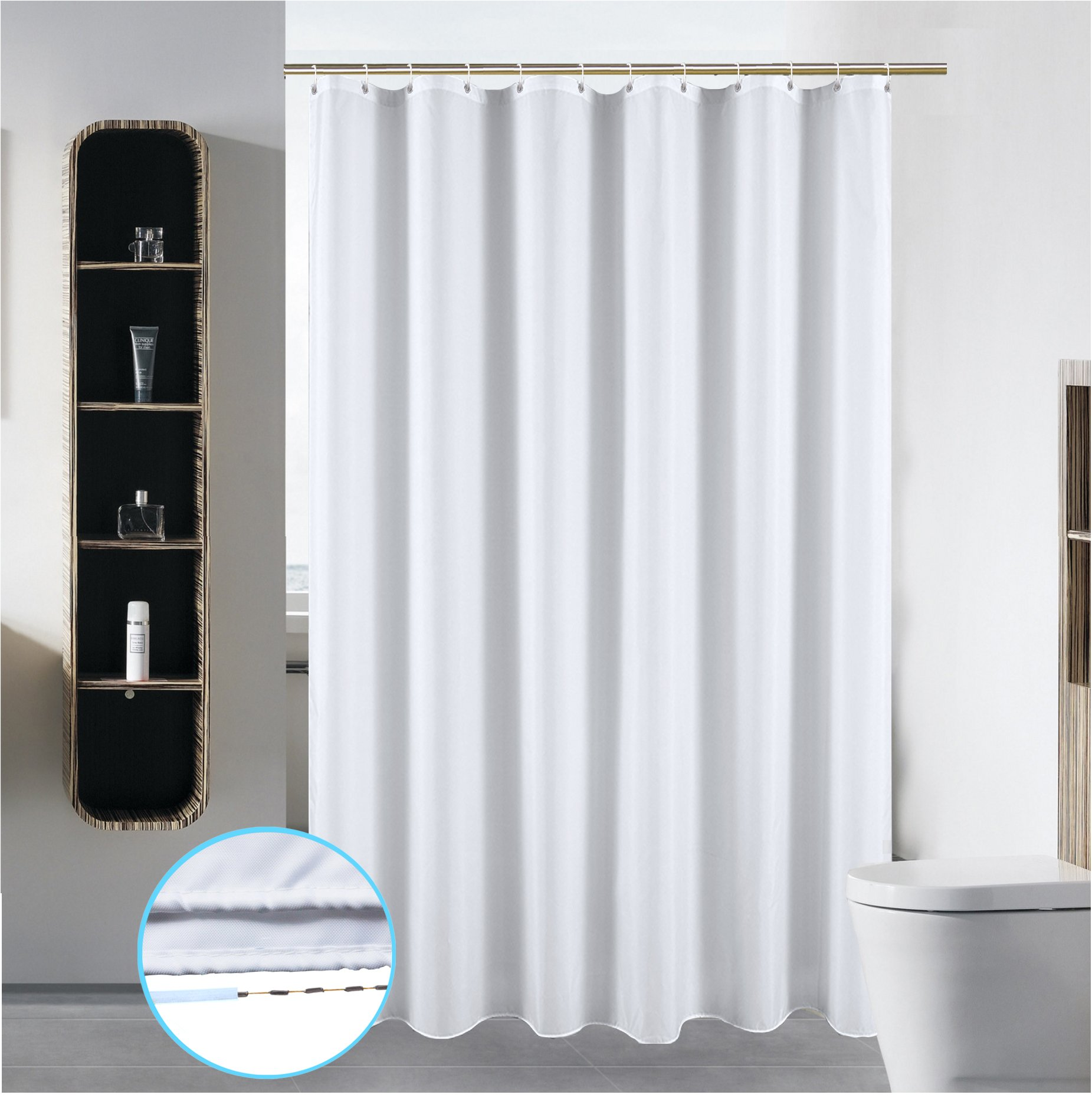 S·Lattye 72 x 72 Bathroom Shower Curtain Liner Water Repellent Fabric Mildew Resistant Washable Polyester (Hotel Quality Eco Friendly Sheer Heavy Duty) with White Plastic Hooks - Standard, Pure White