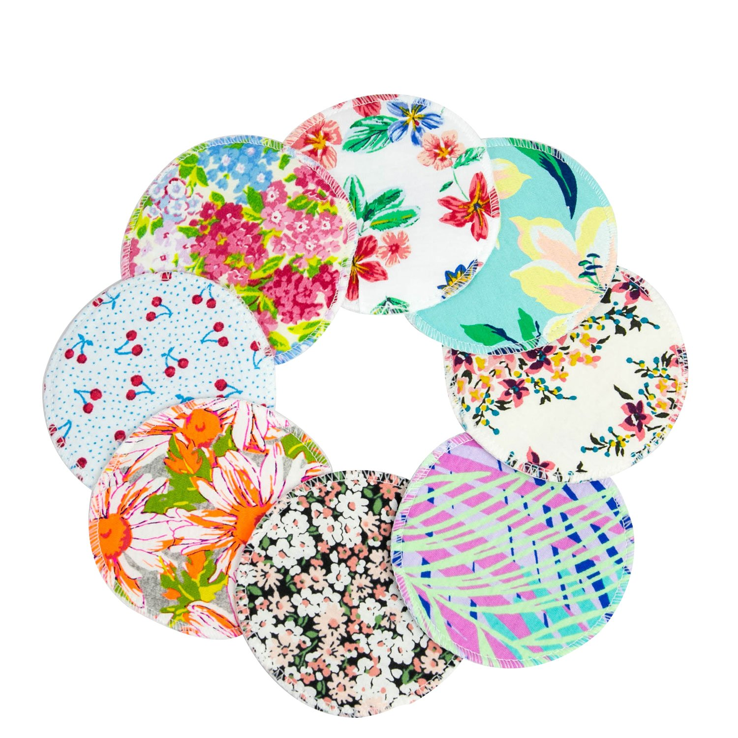8 Pack Liyoung Reusable Washable Nursing Breast Pads, Cotton Nursing Covers in Floral Print Vintage Style, Super Soft & Absorbent, Cute Baby Shower Gift (8 pieces)