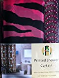 Shower Curtain Kids Jungle Safari Pink Zebra Design with Decorative Roller Rings/hooks