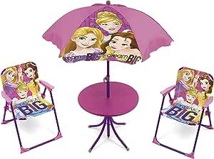 ARDITEX WD9459 Set de Mesa (50x50x48cm), 2 Sillas (38x32x53cm) y Sombrilla (diámetro 110cm) de Disney-Princesas