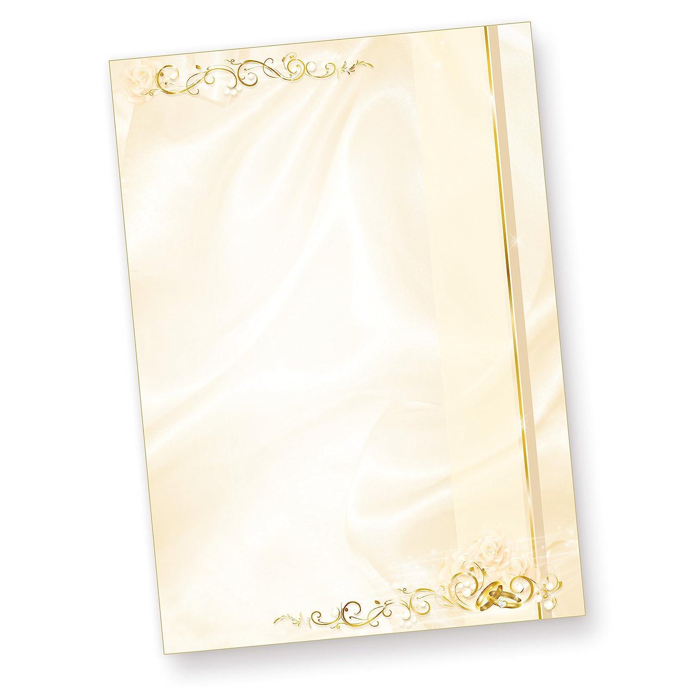50 St/ück Briefpapier Hochzeit creme beidseitig bedrucktes A4 Schreib-Papier Kirchen-Hefte z.B f/ür Einladungen Hochzeits-Zeitung