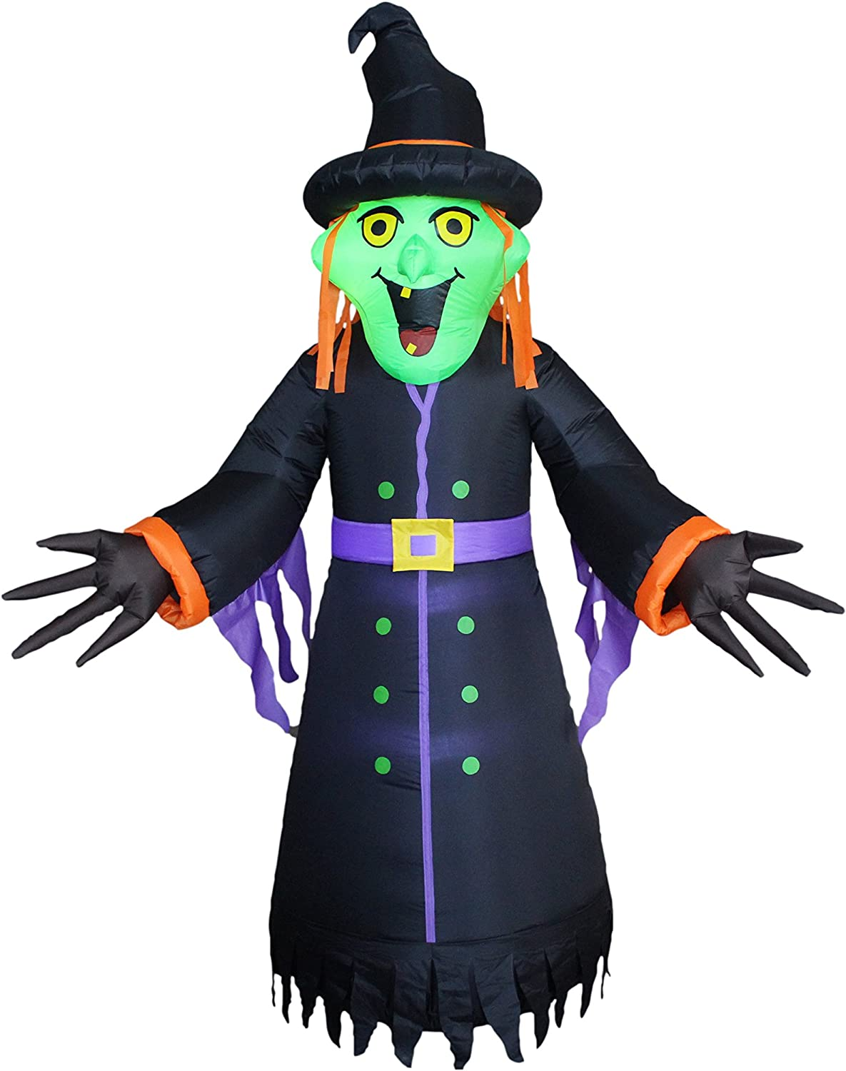 BZB Goods 8 Foot Tall Halloween Inflatable Witch LED Lights Decor Outdoor Indoor Holiday Decorations, Blow up Lighted Yard Decor, Giant Lawn Inflatables Home Family Outside